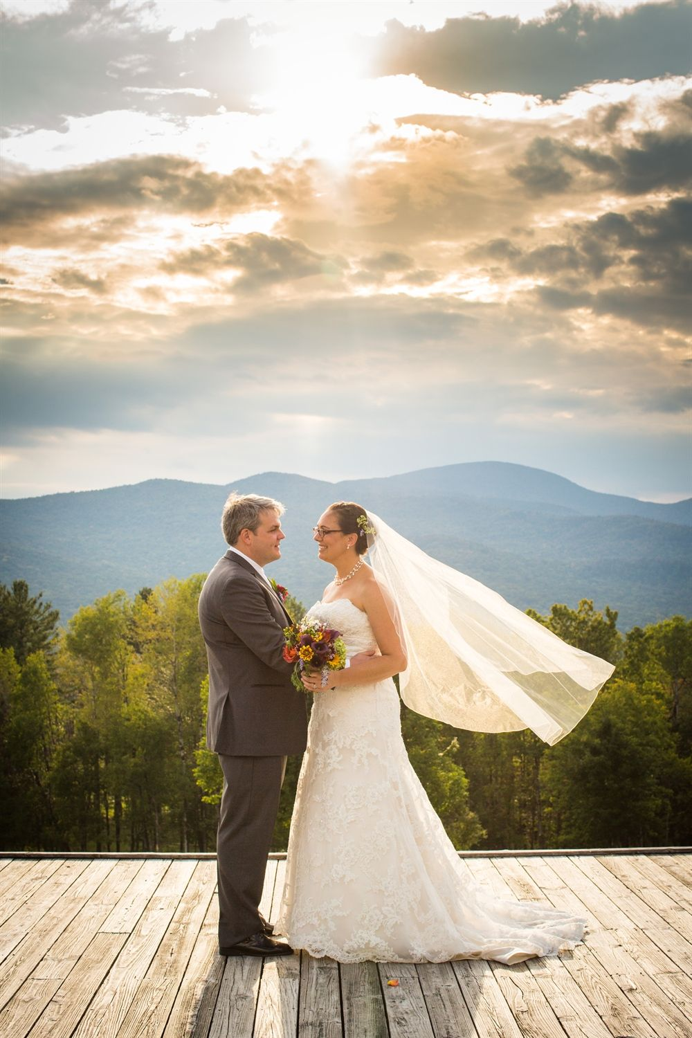 Couple after their wedding at our Resort in Stowe, Vermont